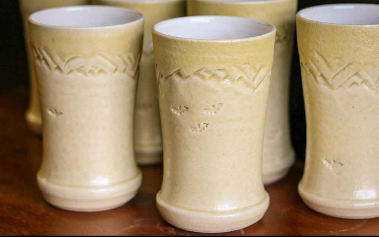 Wine Tumblers Glazed with Rats Nest Cave Clay