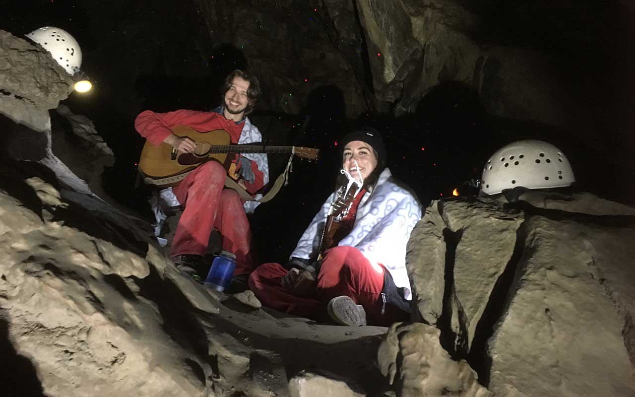 Elen Froese and Derek Curtis Playing IN Rat's Nest Cave