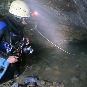 Chas Prepares To Dive The Entrance Sump. Tupper Raspberry System Glacier National Park BC. Photo By Nick Vieira